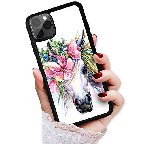 Für iPhone 12, iPhone 12 Pro, Durable Protective Soft Back Case Phone Cover, HOT12593 Flower Horse Unicorn 12593 von True Love Jewellery Pty Ltd