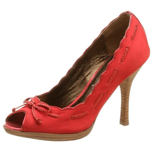 Two Lips Damen Ceporah Peep Toe Pumps, Rot (Rot, Satin), 37 EU von Two Lips