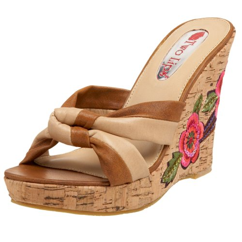 Two Lips Damen Corsage Keilsandalen, Beige (Natur), 42 EU von Two Lips