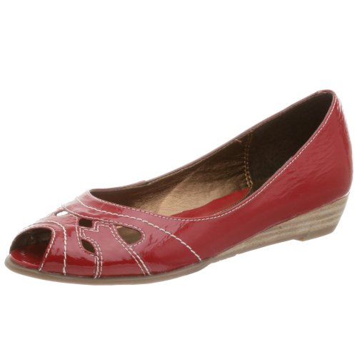 Two Lips Damen Elysa Peep Toe Flat, Rot (rot), 34 EU von Two Lips