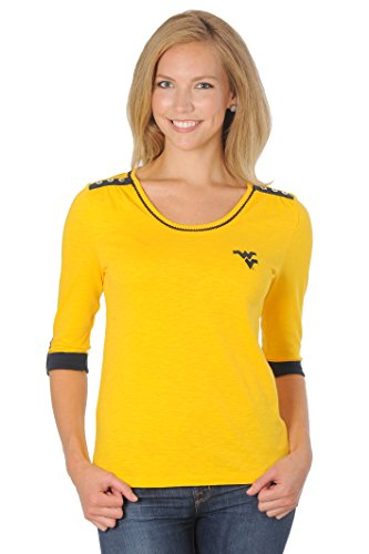 UG Apparel Damen Nebraska Cornhuskers aufrollbar Top, Damen, Roll-Up Top, Gold/Navy von UG Apparel
