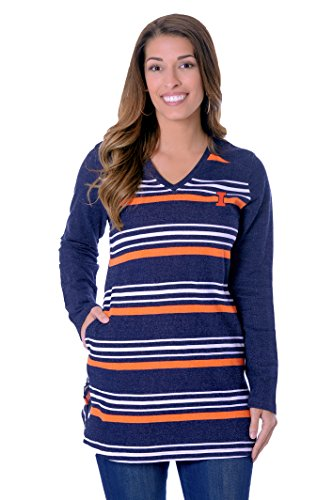 UG Apparel Damen Tunika Fleece, Damen, 1724-LAR-IL, Marineblau/orange, Large von UG Apparel