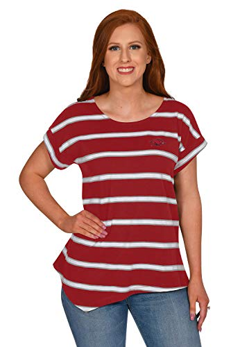 UG Apparel NCAA Arkansas Razorbacks Asymmetrical Striped Top, Crimson, Medium von UG Apparel