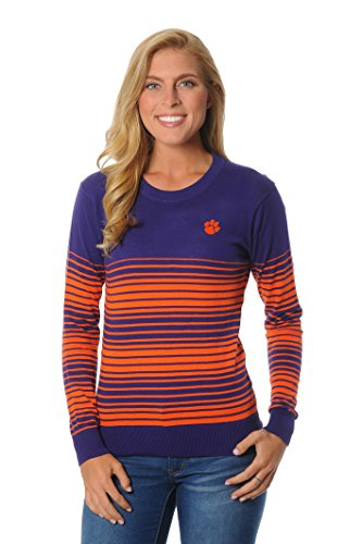UG Apparel NCAA Clemson Tigers Women's Striped Sweater, Large, Navy/Orange von UG Apparel