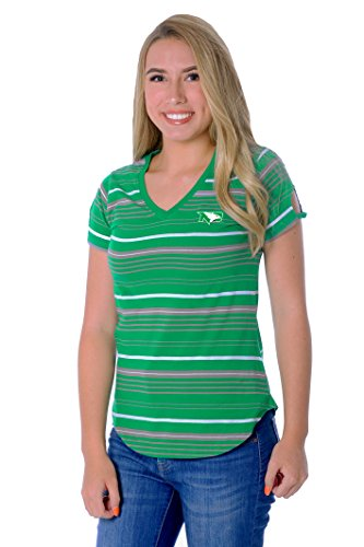 UG Apparel NCAA Damen Ausschnitt Heckklappe Tee, Damen, Tailgate Tee, Kelly Green/White, Large von UG Apparel