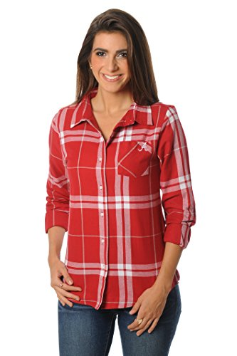 UG Apparel NCAA Damen Boyfriend Plaid Flanell Hemd, Damen, Crimson/Grey/White von UG Apparel