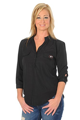 UG Apparel NCAA Damen Klassische Button-Down Tunika Top, Damen, schwarz von UG Apparel