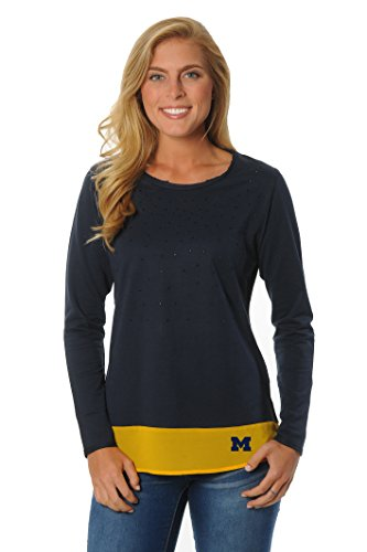 UG Apparel NCAA Damen Strass Pullover mit Kontrast Stoff, Damen, Navy/Gold von UG Apparel