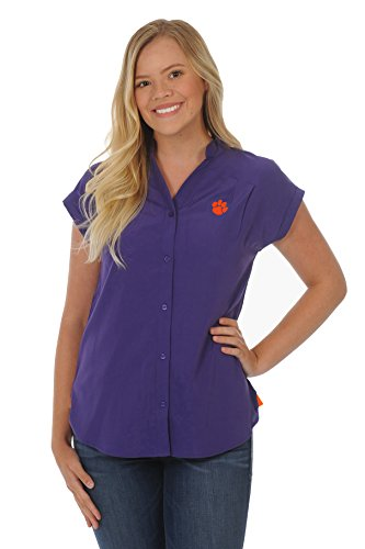 UG Apparel NCAA Frauen Short Sleeve Button-Down Tunika, Damen, Plus Size CeCe Top, orange/violett, 1X von UG Apparel
