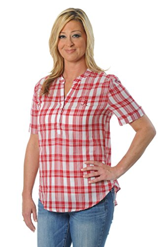 UG Apparel NCAA Frauen Short Sleeve Plaid Top, Damen, Purpurrot von UG Apparel