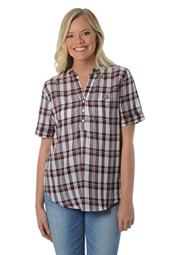 UG Apparel NCAA Frauen Short Sleeve Plaid Top, Damen, kastanienbraun von UG Apparel