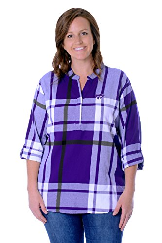 UG Apparel NCAA Kansas State Wildcats Adult Women Plus Size Plaid Tunic, 2X, Purple/Black von UG Apparel