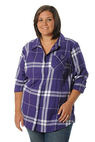 UG Apparel NCAA Kansas State Wildcats Womens Kansas State Wildcats Women's Plus Size Boyfriend Plaid Shirt, Purple/Grey/White,2X von UG Apparel