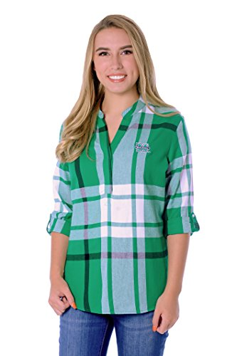 UG Apparel NCAA Marshall Thundering Herd Adult Women Plus Size Plaid Tunic, 1X, Kelly Green/White von UG Apparel