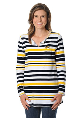 UG Apparel NCAA Missouri Tigers Women's Striped Tunic Fleece Top, Small, Black/Gold/White von UG Apparel