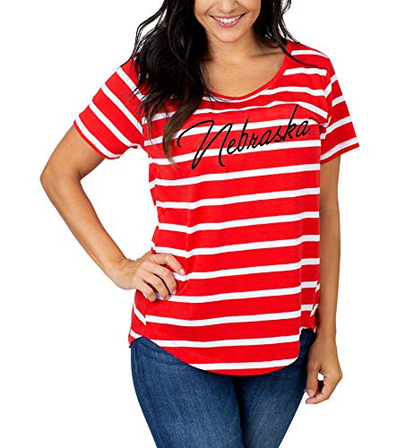 UG Apparel NCAA Nebraska Cornhuskers Damen T-Shirt, gestreift, Gr. M, Rot von UG Apparel