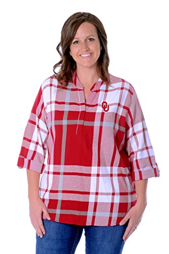 UG Apparel NCAA Oklahoma Sooners Adult Women Plaid Tunic, X-Large, Crimson/Grey/White von UG Apparel