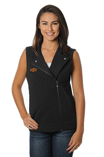 UG Apparel NCAA Oklahoma State Cowboys Women's Quilted Moto Vest, Large, Black von UG Apparel