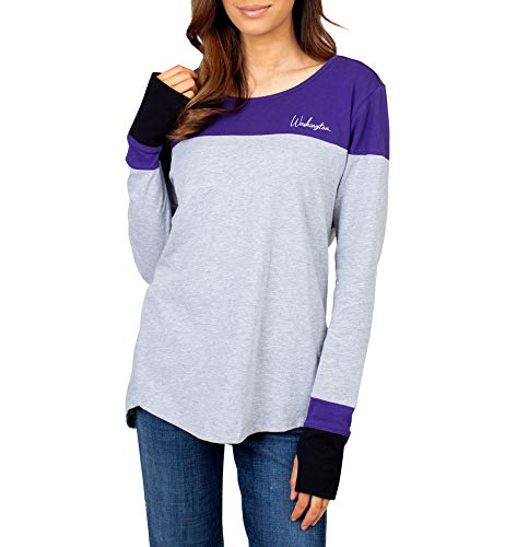 UG Apparel NCAA Washington Huskies Damen Colorblock L/S Top, Grau, XL von UG Apparel