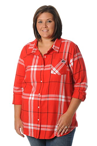 UG Apparel Plus Size Boyfriend Plaid Shirt,3X,Red/Black/White von UG Apparel