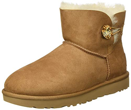 UGG Female Mini Bailey Button Bling Classic Boot, Chestnut/Gold, 6 (UK) von UGG