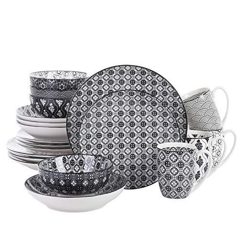Vancasso Natsuki 40-tlg Porzellan Geschhirrset Müslischalen Kaffeebecher Teller