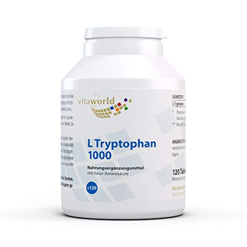 3er Pack Vita World L-Tryptophan 1000mg 3 x 120 Tabletten Made in Germany L Tryptophan Aminosäure Serotonin von Vita World