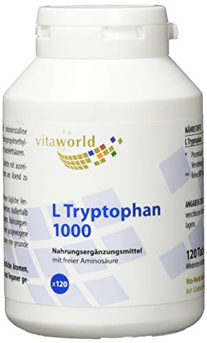 Vita World L-Tryptophan 1000mg 120 Tabletten Made in Germany L Tryptophan Aminosäure Serotonin von Vita World