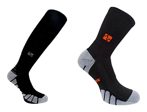 VitalSox Italy-Patented Compression Sock Combo Pack, Black, Large von VitalSox