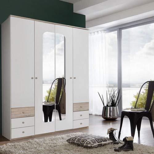 2 Spiegel, Wimex Kleiderschrank// Schwebet/ürenschrank Queen Eiche S/ägerau 180 x 198 x 64 cm B//H//T