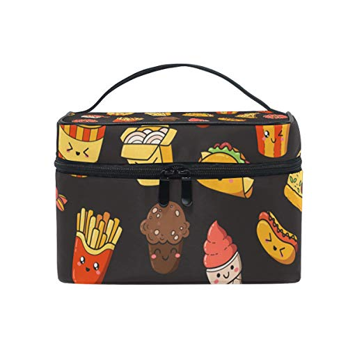 Make-up Kosmetiktasche Cartoon Burger Hotdog Portable Storage mit Reißverschluss von XiangHeFu