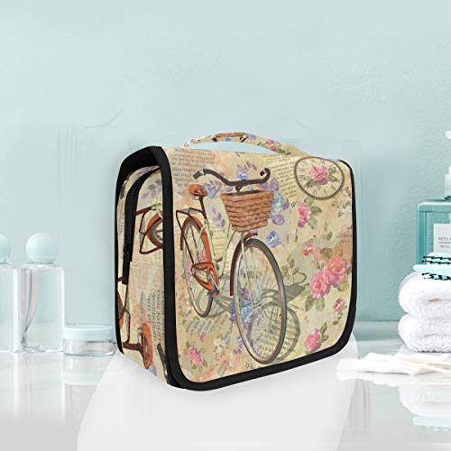 Make-up Kosmetiktasche Fahrrad und Art Vintage Brief Portable Storage Travel Kulturbeutel von XiangHeFu