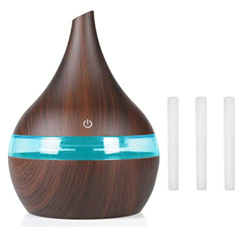 YHWW Luftbefeuchter,300ml USB Air humidifier Remote Aroma air diffuser wood Ultrasonic Essential oil Aromatherapy cool mist maker for room home,brown,2 von YHWW