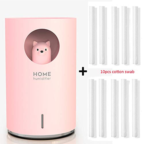 YHWW Luftbefeuchter,Home Humidifier 700ML Large Capacity USB Air Humidificador Aroma Essential Oil Diffuser With Color LED Lamp Air purifier Fogger,Pink Bear 10filter von YHWW