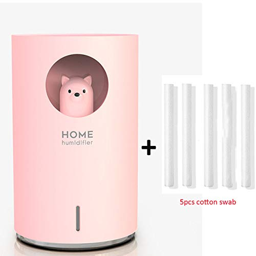 YHWW Luftbefeuchter,Home Humidifier 700ML Large Capacity USB Air Humidificador Aroma Essential Oil Diffuser With Color LED Lamp Air purifier Fogger,Pink Bear  5filter von YHWW