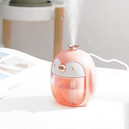 YHWW Luftbefeuchter,Portable Ultrasonic Humidifier Cute Pet Penguin 300ML Air USB Aroma Essential Oil Diffuser With Color Night Lamp,Pink von YHWW