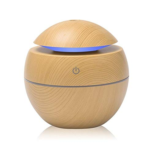 YHWW Luftbefeuchter,USB Aroma Essential Oil Diffuser Ultrasonic Cool Mist Humidifier Air Purifier 7 Color Change LED Night light for Office Home,Light Wood von YHWW