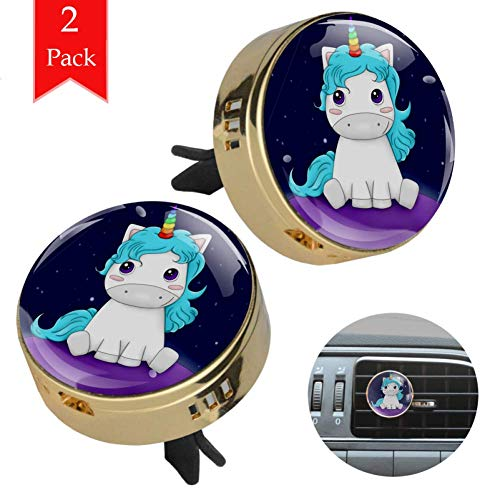 Blue Unicorn Lovely Star Golden 2 Wagen diffusor aromatherapie ätherisches öl diffusor holz Legierung metall Runden Aromatherapie-Clip + 4 Füllen Sie die Pads nach von Yumansis