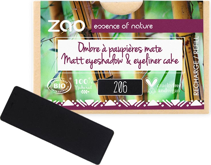 ZAO Refill Rectangle Eye Shadow - 206 Matt Black/Eyeliner Cake von ZAO