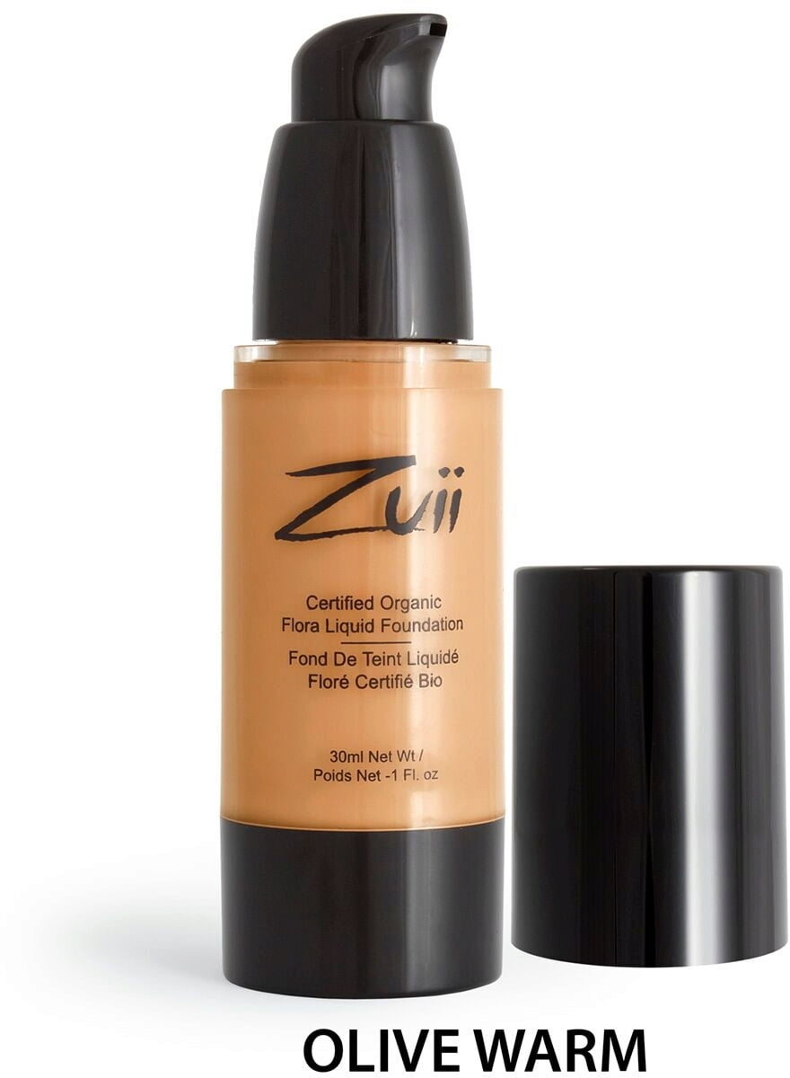 Certified Organic Flora Liquid Foundation - Warm Olive (vegan) von Zuii ORGANIC