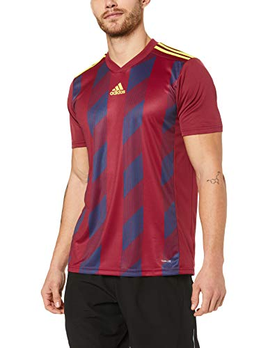 adidas Herren Striped 19 JSY T-Shirt, Collegiate Burgundy/Bright Yellow, L von adidas