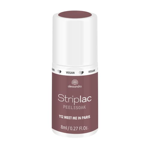 alessandro Striplac Peel or Soak Meet me in Paris – LED-Nagellack in Taupe-Violett – Für perfekte Nägel in 15 Minuten – 1 x 8ml von alessandro