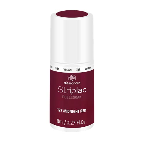 alessandro Striplac Peel or Soak Midnight Red – LED-Nagellack in dunklem Rot – Für perfekte Nägel in 15 Minuten – 1 x 8ml von alessandro