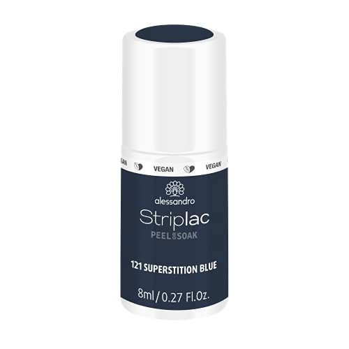 alessandro Striplac Peel or Soak Superstition Blue – LED-Nagellack in dunklem Blau – Für perfekte Nägel in 15 Minuten – 1 x 8ml von alessandro