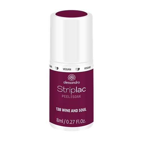 alessandro Striplac Peel or Soak Wine and Soul – LED-Nagellack in dunklem Rot-Lila – Für perfekte Nägel in 15 Minuten – 1 x 8ml von alessandro