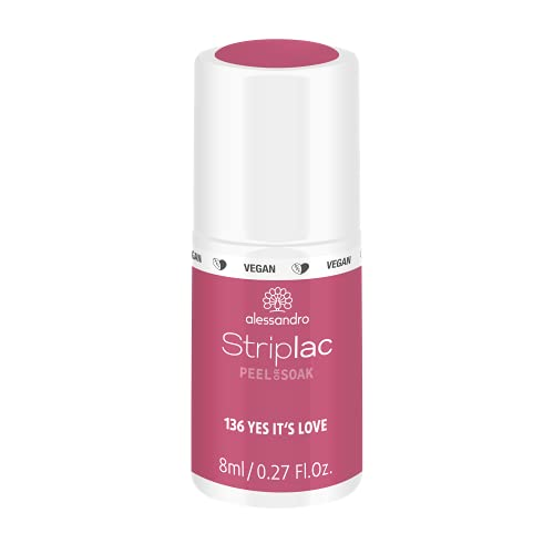 alessandro Striplac Peel or Soak Yes it´s love – LED-Nagellack in Rot-Rosa – Für perfekte Nägel in 15 Minuten – 1 x 8ml von alessandro