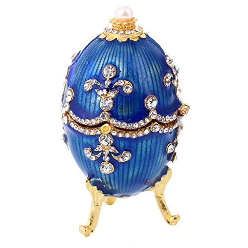 chiwanji Easter Flower Jewelry Box Faberge Box Decoration Blue Easter Egg von chiwanji