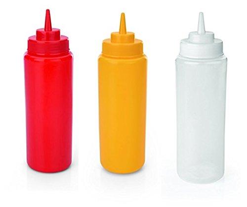 farbiger Schraubdeckel und Silikonventil, gelb 6X Quetschflasche Kunststoff
