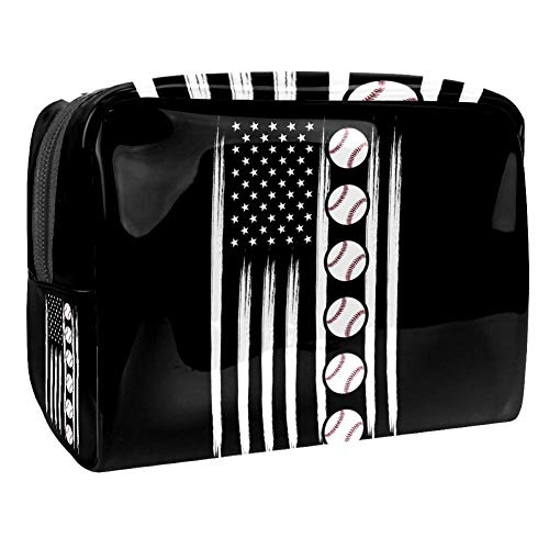 PVC-Make-up-Tasche, tragbar, Kosmetiktasche, Kulturbeutel, wasserdicht, Kulturbeutel, Kosmetik, Make-up, Foundation-Tasche, 18,5 x 7,6 x 13 cm, schwarze Baseball-Flagge von henghenghaha