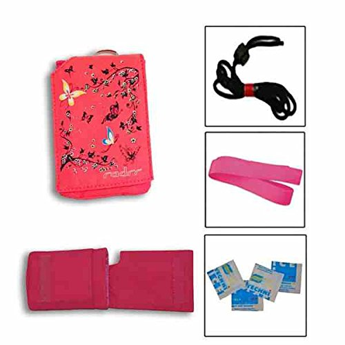 Insulinpumpe Universal Tasche Value Pack -Rosa Schmetterlings von radrr